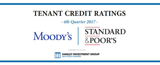 Tenant Credit Ratings - 4th Quarter 2017